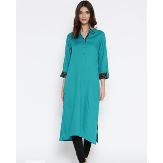 Turquoise Rayon Kurti