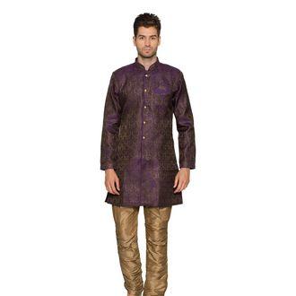 Purple & Golden Churidar Indo Western Sherwani