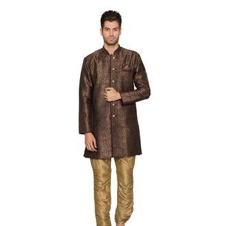 Brown Jacquard Indo Western Sherwani