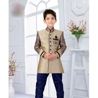 Blue & Beige Silk Jacquard Kid's Indo Sherwani with Diamond Stone Work