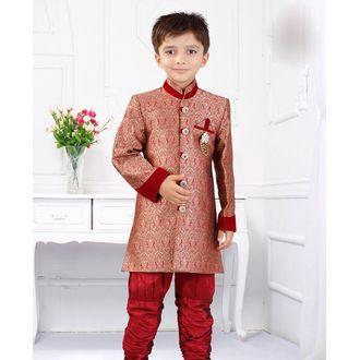 Red Silk Jacquard Mandarin Collar Kid's Sherwani