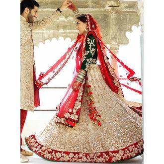 Net & Velvet Red & Off White Lehenga Choli with Embroidery Work