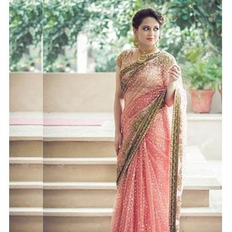 Net & Silk Coral Pink Embroidered Saree