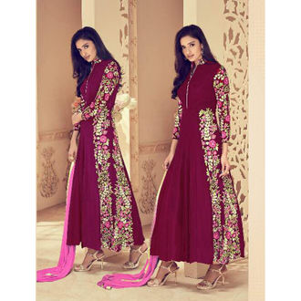 Maroon Faux Georgette Anarkali Suit with Embroidery Work