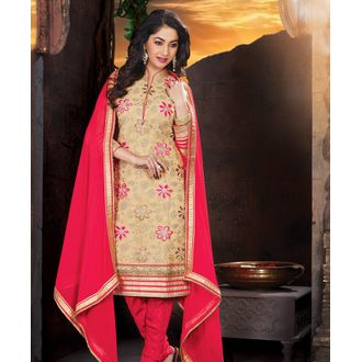 Beige & Pink Net Embroidered Churidar Suit
