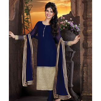 Royal Blue Faux Georgette Churidar Suit