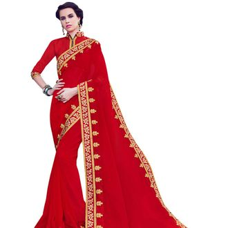 Red Color Georgette Saree with Stone Work