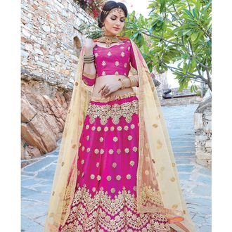 Purple Net & Satin Lehenga Choli with Coding Work