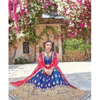 Blue Heavy Embroidery Lehenga Choli