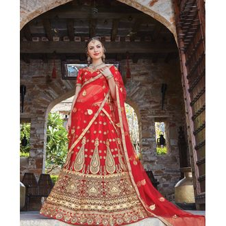 Red Net & Satin Panel Style Coding Work Lehenga Choli