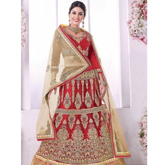 Red Bridal Lehenga Choli with Zari Work