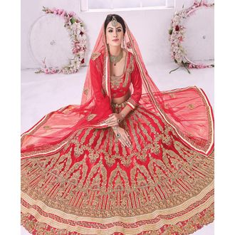Bridal Red Panel Style Lehenga Choli