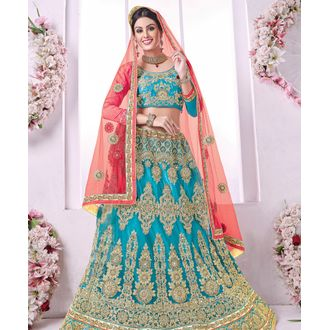 Banglori Silk Sky Blue Embroidered Lehenga Choli