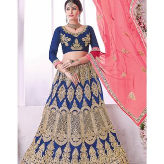 Navy Blue Banglori Silk Lehenga Choli
