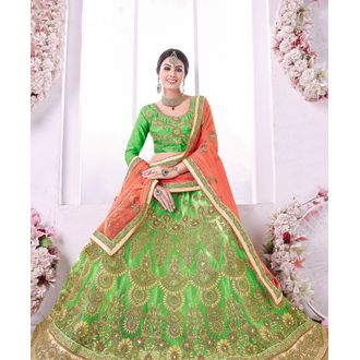 Green Banglori Silk Embroidered Lehenga Choli