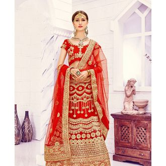 Red Bridal Embroidered Lehenga Choli