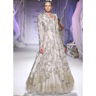 Jacket Style Raw Silk & Net Ivory Long Gown