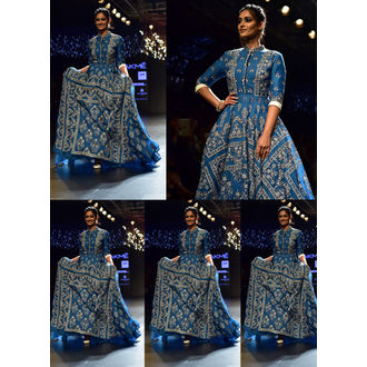 Blue flare Style Long Gown with Patri Work