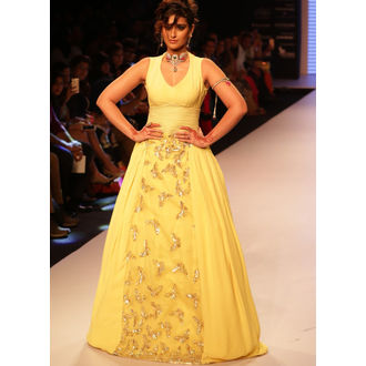 Yellow Georgette Sequins Gown floor Touch