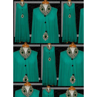 Long frock style Teal Green Cotton & Georgette Gown