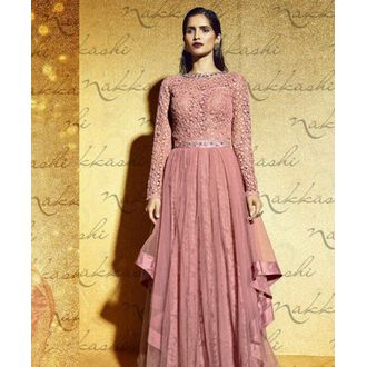 Mono Net Gown with Embroidery