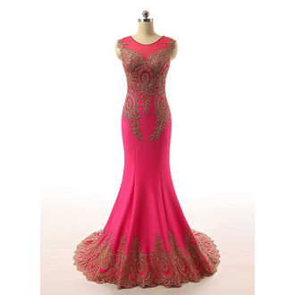 Magenta and golden gown