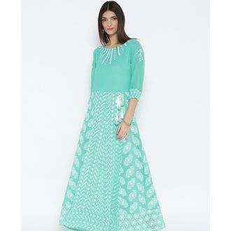 Turquoise Anarkali Style Chikankari Embroidered Kurti