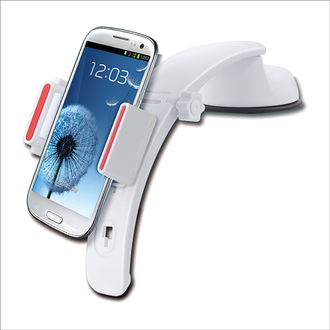 Car mobile holder for dash and windshield mount 3 in 1 - white