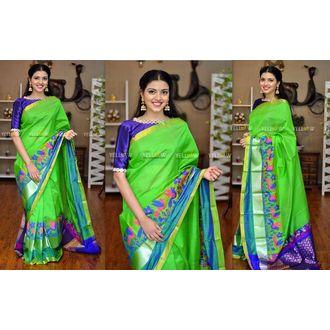 0cd8938031 Parrot green handloom kuppadam silk saree with blue pallu and flying birds  thread wovenBlouse - Comes