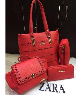 Designer Replica  Handbag - Combo of 4 (Red) - 9836A