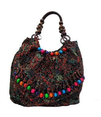 Craft-on-Bags Brown Beaded Handle Handbag - HWIT382