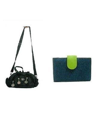 BG Shoppe Black Sling Bag & Blue Denim Wallet - HWIT1703