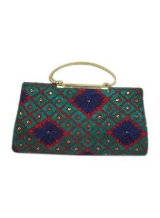 Phulkari Metal Handle Handbag