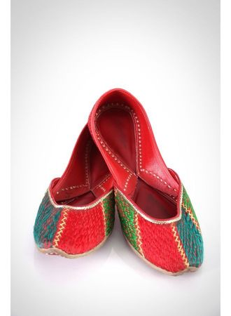 Phulkari Jutti - Red