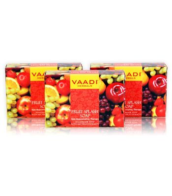 FRUIT SPLASH SOAP with extracts of Orange, Peach, Green Apple & Lemon (3 X 75 gms)