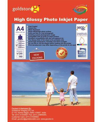 GoColor High Glossy Inkjet Paper 180Gsm A4  20 Sheets