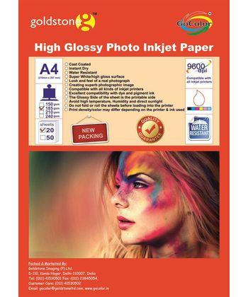 Gocolor High Glossy Inkjet Paper 185Gsm A4  50 Sheets