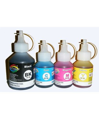 GoColor Premium Quality Brother T Series Inkjet Special Refilling Ink ( Dye Ink ) 100 Ml Black & C/M/Y 50 ML