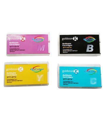 GoColor Refillable Cartridges 6771 - 6774 for Epson Printer WP/4011/4511/4521/4531 ( 4 Color Cartridge B/C/M/Y )