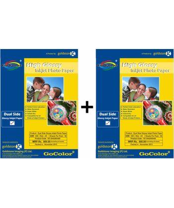 GoColor Duel Side Glossy Inkjet Paper 220 GSM A4 20 sheet X 2 Pack Combo