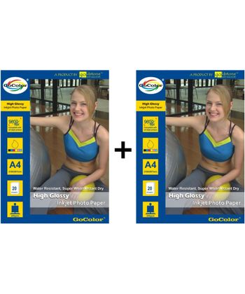 Gocolor High Glossy Inkjet Paper 240Gsm A4  20 Sheets x 2 Packs Combo