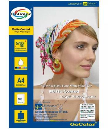 GoColor Matte Coated Inkjet Paper 130 GSM A4 100 sheet