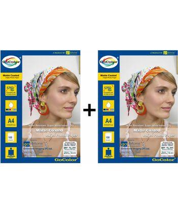 GoColor Matte Coated Inkjet Paper 130 GSM A4 100 sheet x 2 Packs Combo