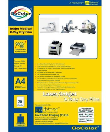 GoColor Inkjet XRay Medical White Transparent Film For DR/CR/MRI/CT Imaging  RC Waterproff Film A4 20 Sheet