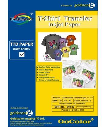 Gocolor TShirt Transfer Inkjet Paper Dark Fabrics A4 / 5 Sheet Packet