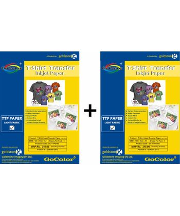 Gocolor TShirt Transfer Inkjet Paper Light Fabrics X 2 Packs Combo