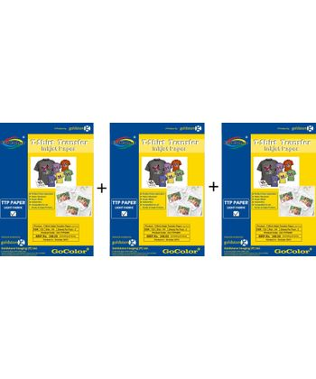 Gocolor TShirt Transfer Inkjet Paper Light Fabrics X 5 Packs Combo