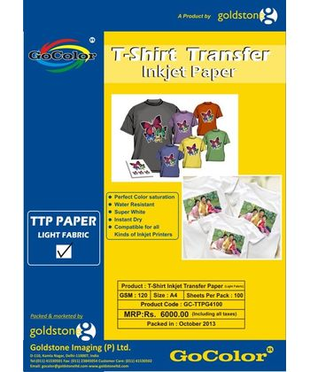 Gocolor TShirt Transfer Inkjet Paper Light Fabrics A4 100 Sheet