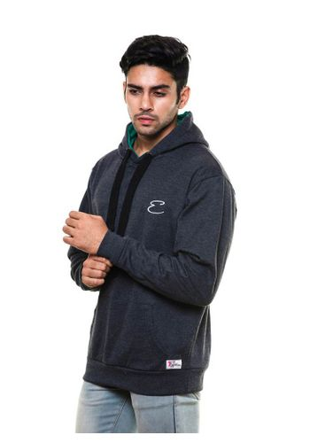 Solid plain Charcoal Sweatshirt with Hood