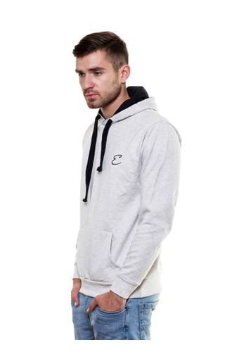 Solid plain Grey Melange Sweatshirt with Hood